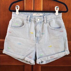 Zara High-Wasted Shorts w/ Fish